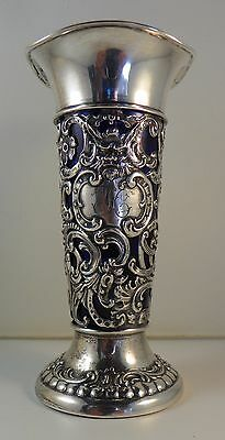 Vase.  American Sterling Silver with Cobalt Blue Liner.  Circa 1890