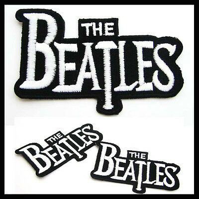 1 x THE BEATLES Logo Iron On Patch Liverpool English ROCK POP Band Fab Four POP