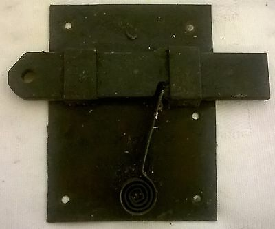 Antique Spring Loaded Door Latch & Plate with Sliding Lock