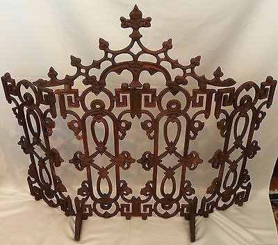 Large Gothic-Style Iron Fire Screen.  European.  19th Century.