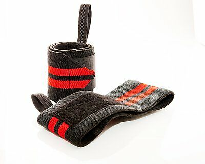 Prime Sports Pro PowerLifting Wrist Wraps Supports Gym Training Thumb Loop Pair