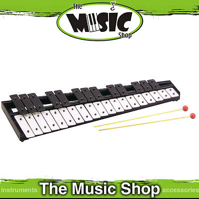 New Mitello UE442 32 Note Glockenspiel with Beaters - Black & White Steel Bars