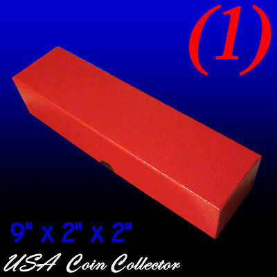"(1) 9"" Single Row Coin Storage Box Red 