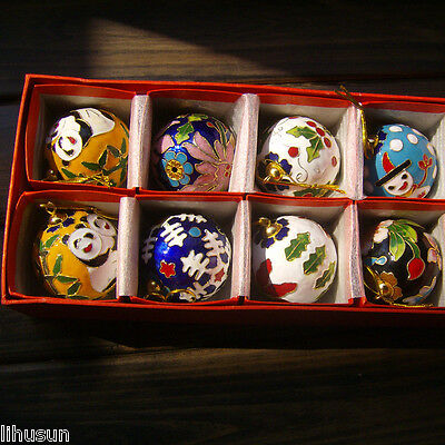 10pcs Chinese Handmade Cloisonne Enamel Ball Christmas Charms Decoration 8size