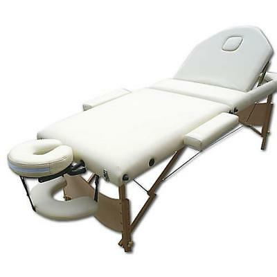 3 Zones Portable Massage Table Mobile Bench Couch Beauty Bed Black / Cream