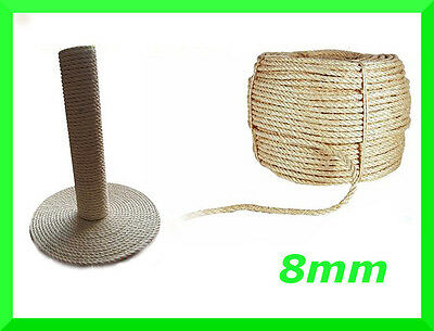 8mm Natural Sisal Rope Twisted Braided,Decking,Garden,Cat Scratching Post,Crafts
