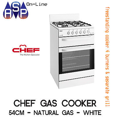 Chef 54Cm Freestanding Gas Cooker With Separate Grill - Cfg503Wa