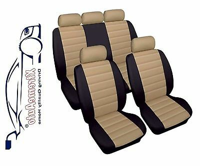 Bloomsbury Black/Beige Leather Look Car Seat Covers For Audi A1 A2 A3 A4 A5 A6