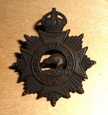 New Zealand Permanent Staff Blackened Brass Cap Badge.london Maker.