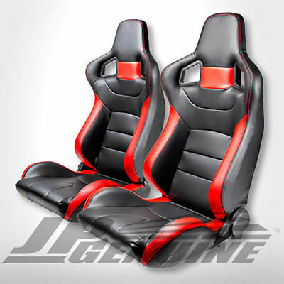 Pair Sport Style Reclinable Bucket Racing Seat Black / Red Leather - Universal