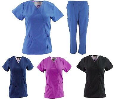 Stylish Womens Nursing Solid Scrub Sets top and pant Multiple Colors Sizes NWT