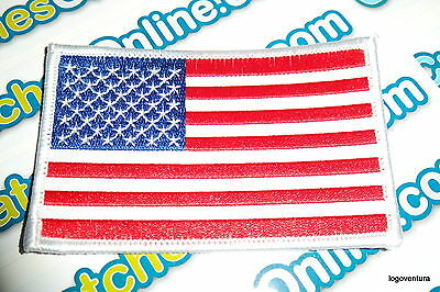 "USA American Flag Embroidered Iron- On Patch 2.5x4"" White Border Applique"