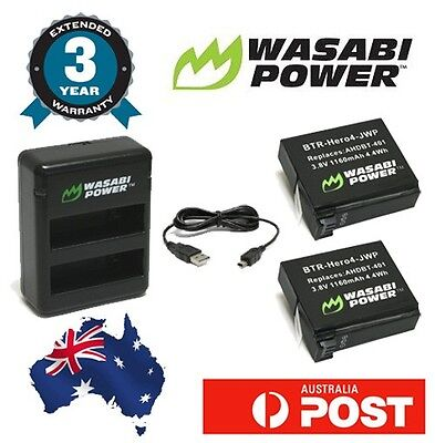 Wasabi Power Battery for GoPro HERO4 Dual USB Charger with 2x 1160mAh batteries
