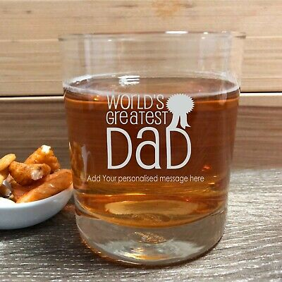 Personalised Fathers Day Scotch Glass, Whiskey Bourbon, Engraved Gift Present