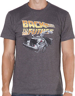 BACK TO THE FUTURE DeLorean Logo Distressed T-Shirt Brand New Authentic