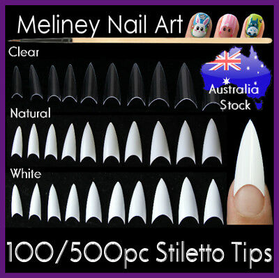 100/500Pc Stiletto Tips Pointy False French Nails Nail Fake Gel Art Acrylic