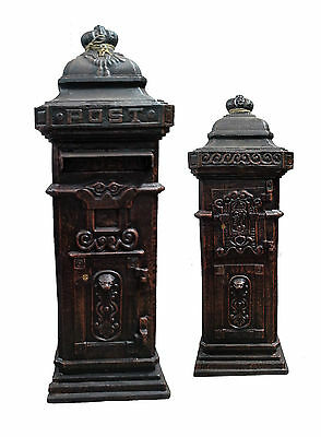 CAST IRON Tall Boy Post Mail Letter Box BEAUTIFUL Quality Black (Red Avail) 1m