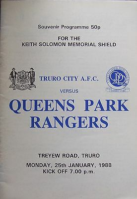Truro City v QPR – Solomon Memorial 25/1/88  official matchday programme
