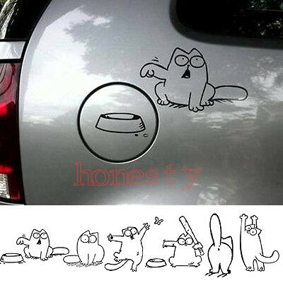 Cartoon CAT Decal Vinyl Car Tank Pad Laptop Window Wall Bumper Sticker Six Types
