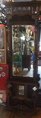 Great Victorian Oak Beveled Pier Mirror Carved Mirrors Cabinet Bottom Unusual
