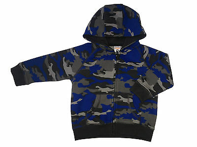 New Boys Camouflage Camo Hooded Top Hoodie Jumper 6 - 12 18 Months 2 3 4 5 Years