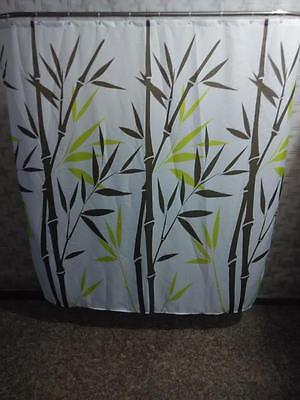 Water Reeds Bamboo Bathroom Shower Curtain 180cm x 180cm Polyester Hooks
