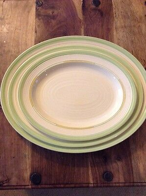 Set Of 3 Art Deco Crown Ducal Platters
