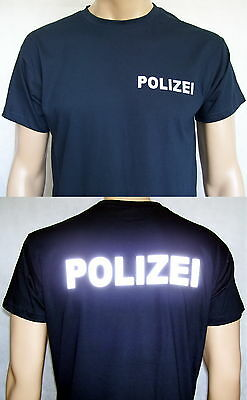 POLIZEI T-Shirt in marineblau / Text in silberreflex, Gr. S/46 bis 4XL/58