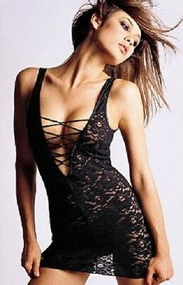 Sexy Ladies Black Lace Babydoll & G-String Lingerie Set (Mini Dress Style) 8-12