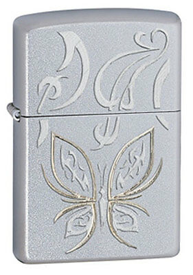 Zippo 24339 Golden Butterfly Satin Chrome Windproof Classic Lighter, New in Box
