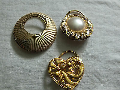 Beautiful Collectible Scarf Clip Set 3 Gold Tone Faux Pearl 1 Signed Jeri Lou