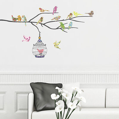 Decowall, DW-1202 Birds on the Branch Wall Stickers Nursery Home Children Decals