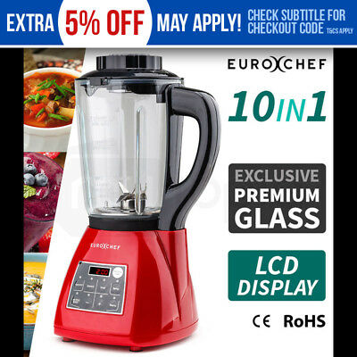 NEW EUROCHEF Glass Soup Maker- Blender Kettle Hot Cold Stainless Processor LCD