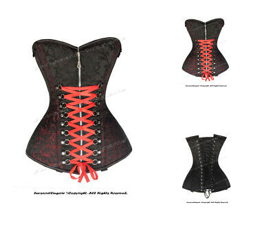 Heavy Duty 24 Double Steel Boned Waist Training Brocade Overbust Corset 8582-BRO