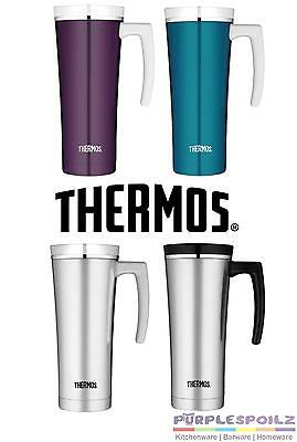 NEW THERMOS 470ml STAINLESS STEEL TRAVEL MUG Insulated Cup Coffee Tea 4 DESIGNS
