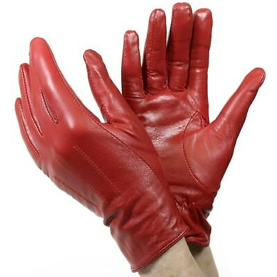 Isotoner A22817 Women's Lined Leather Gloves Red Size 7.5