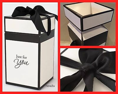 Flat Packed LUXURY LARGE CANDLE GIFT BOX BLACK /CREAM WITH RIBBON 9x9x17cm High