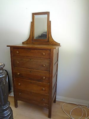 American Antique Highboy Chest Of Drawers Signed Helmers Mfg Co.