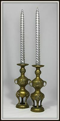 """Pair of Brass Hindu Candlesticks with Buddhas, Elephant Handles & Lion Feet)"