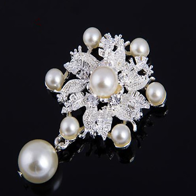Rhinestone Crystal Wedding Bridal Bouquet Silver Flower Faux Pearl Brooches Pins