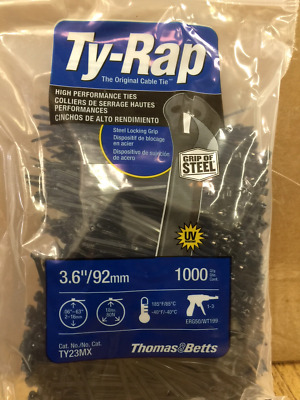 "Thomas & Betts Ty-Rap TY23MX 3.62"" 18lb UV Black 1,000/bag MS3367-4-0"