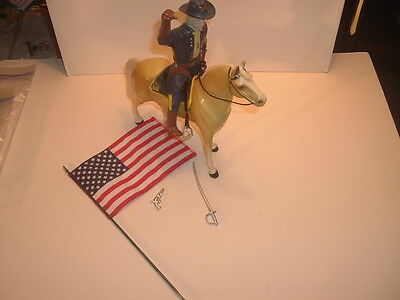 1960's General George Custer Standing Horse Hartland Statue Set with Flag