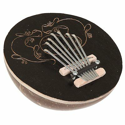 Black Coconut Kalimba Thumb Piano, Gecko Carving
