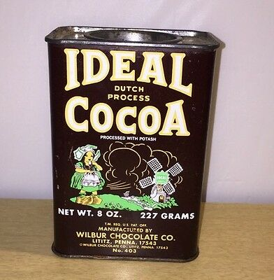 VINTAGE IDEAL COCOA TIN WILBUR CHOCOLATE CO. LITITZ, PENNA Food Advertising Can