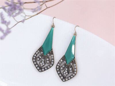 Costume Fashion Earring Tear Drop Gold Art Deco Green Class Retro Vintage A11