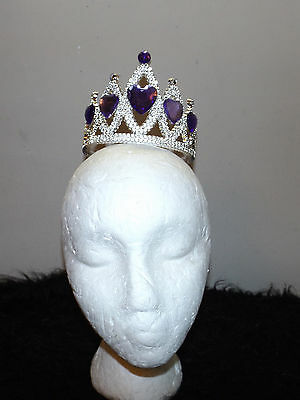 new Claire's Club silver tone and purple Princess crown tiara heart jewels Diva