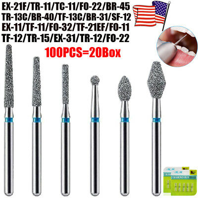100pcs Dental Diamond Burs Drill For High Speed Handpiece Medium FG 1.6mm US