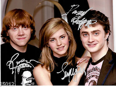 ❤HARRY POTTER CAST RADCLIFFE WATSON GRINT AUTOGRAPHED/SIGNED 8x10 PHOTO C3