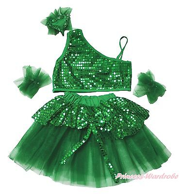 Green Bling Sparkle Sequins Top Kids Girls Ballet Dance Tutu Skirt Costume 1-8Y