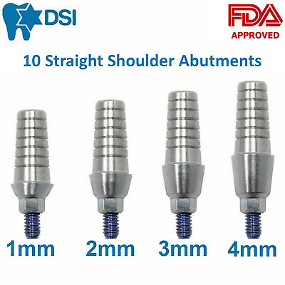 10x Dental Implant Straight Anatomic Shoulder Abutment with Collar 1-4mm Size